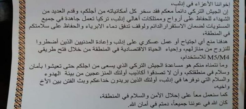 Syria, Turkey In Idlib Tries The PsyOps Card On The Population