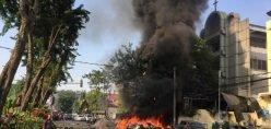 Motorcycles Burn Following A Blast At The Pentecost Church Central Surabaya (GPPS), In Surabaya, East Java, Indonesia May 13, 2018, In This Photo Provided By Antara Foto.  Antara Foto/ Handout Surabaya Government/ Via REUTERS