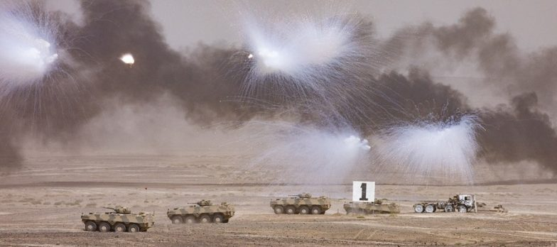 Pictured: Omani Tanks Move Towards A Target During The Fire Power Demonstration.  British And Omani Militaries Combined Forces Over The Last Few Weeks On Exercise Saif Sareea 3, Culminating In An Awesome Fire Power Demonstration Lasting More Than 30 Minutes At Two Separate Locations In Oman.  On 3 Nov 18 A Fire Power Demonstration Brought Weeks Of Hard Work Together In A Series Of Simulated Attacks On Targets. Streamed Live To A VIP Area In An Inland Location, An Amphibious Assault By Royal Marines And Omani Troops Onto A Beach Location In Eastern Oman With Fast-roping From RAF Chinook Helicopters Of 27 Squadron, Combined With Naval Gunfire Support Formed The First Element Of The Demonstration.  The Second Phase, Viewed By Omani Officers And Officials, Gavin Williamson The UK Secretary Of State For Defence, And The Chiefs Of UK Defence Forces, Started After Omani Air Defences Shot Down A 'rogue' Drone Aircraft. This Was Followed Closely By Various Attacks From The Air And Ground. This Included Airstrikes By RAF Typhoons, Omani F-16s, Omani Super Lynx And Army Air Corps Apache Helicopters Before Javelin Anti-tank Weapon Firing Destroyed More Targets.